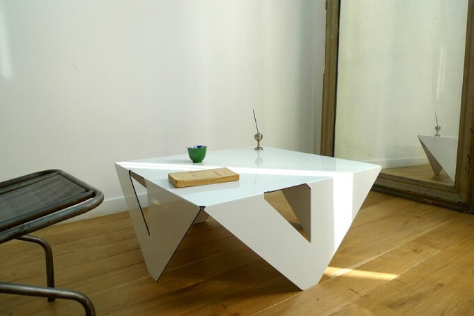 Table4×4 by Jules Barrès Minimalist White Coffee Table by Jules Barrès and Pierre Guillou