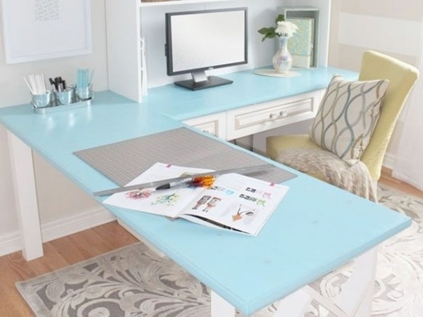 Home office white with blue details 600x450