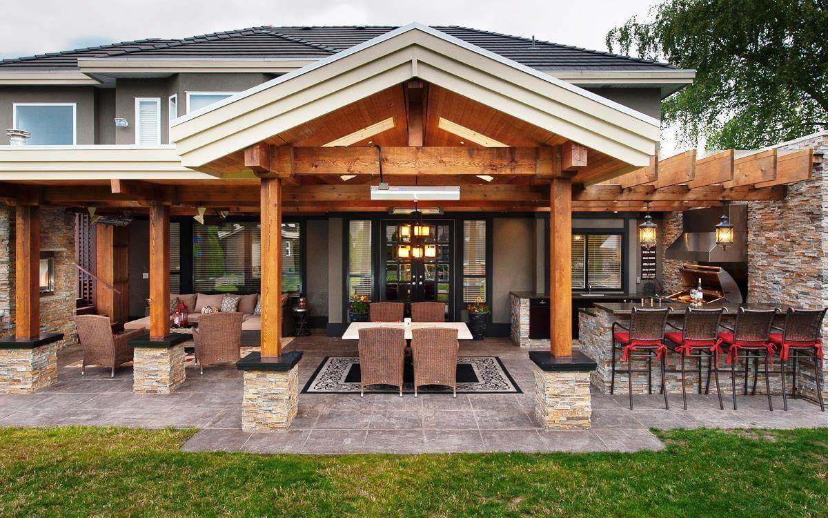 Covered patio and outdoor kitchen designs