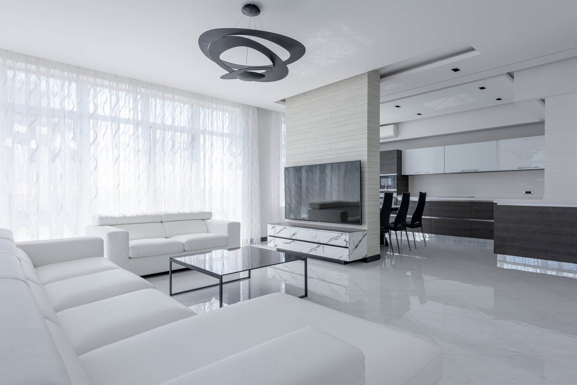 bright modern house interior with furniture